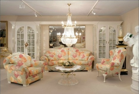 Floral Living Room Interiors with Accent of Enormous Luxury Chandelier | Simple Decorating Ideas For Home | Scoop.it