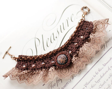Crochet bracelet, vintage-style. brown, decorated with beads, copper brass button and beautiful lace | Fiber Arts | Scoop.it