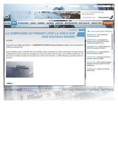 La Compagnie du Ponant lève le voile sur son nouveau navire Voyages & Stratégies - 6 février 2014 | Luxury Travel & Cruise Industry | Scoop.it