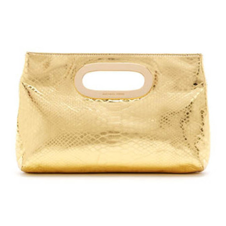 MICHAEL Michael Kors Bags Berkley Metallic Python-Embossed Clutch | new style | Scoop.it