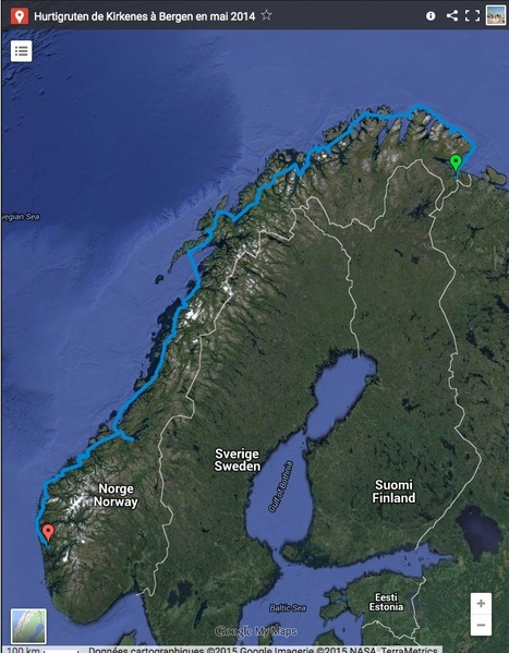 Hurtigruten - Norvège : trace gps intégrale zoomable entre Kirkenes et Bergen | Hurtigruten Arctique Antarctique | Scoop.it