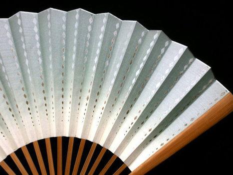 Hand Fan Vintage Paper Fan Sensu Ogi F238 Diamond Shape Designs White Greenish Gray   Etsy Today   Scoop.it
