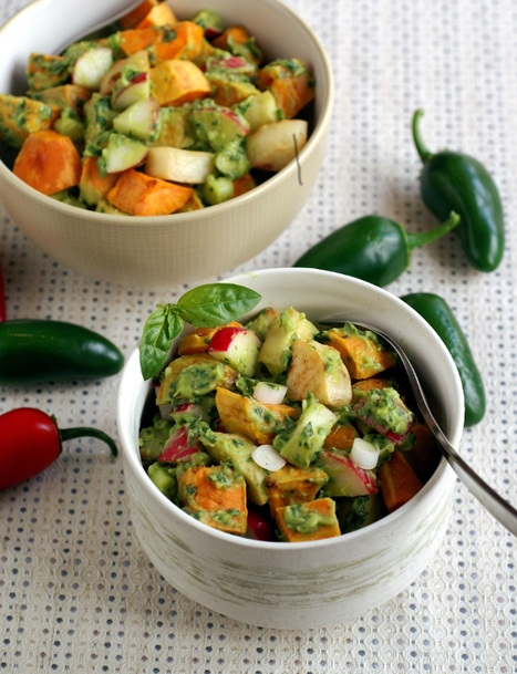 Roasted Potato Salad with Avocado Pesto | @FoodMeditations Time | Scoop.it
