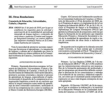Normativa que regula el Programa CLIL en Canarias   Normativa del Programa CLIL en Canarias   Scoop.it