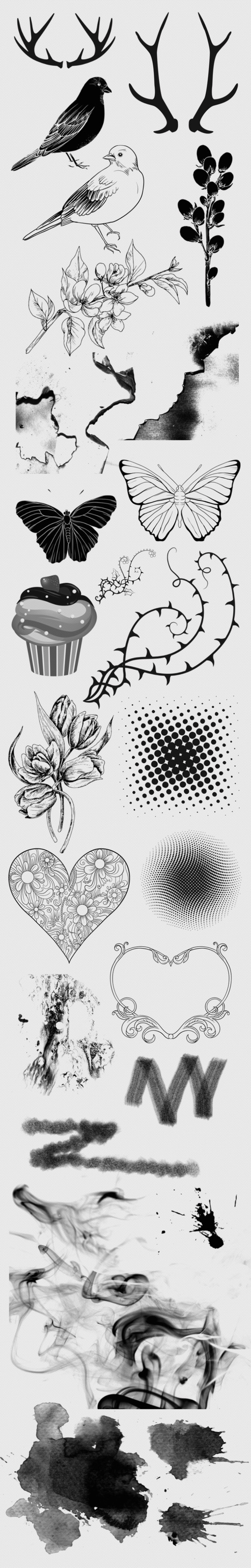 Free Download : 24 Photoshop brushes : birds, flowers, butterflies, hearts, smoke brushes + more | WebWild | Scoop.it