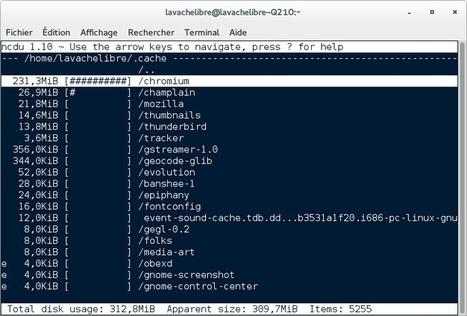 La vache libre : Ncdu (NCurses) – Connaître rapidement le taux d'occupation de vos disques et de vos répertoires sous GNU/Linux | Actualités de l'open source | Scoop.it