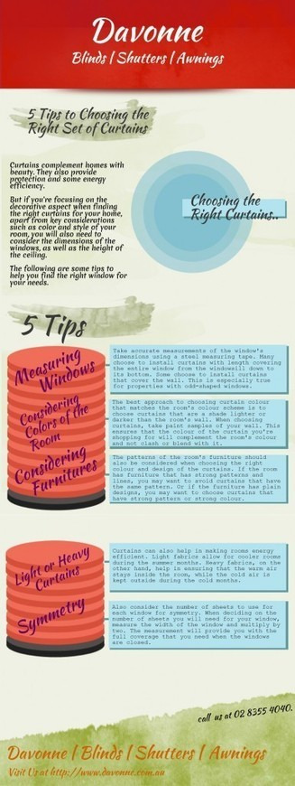5 Tips to Choosing the Right Set of Curtains | Infographic | Davonne | Davonne blinds | shutters | awnings | Scoop.it