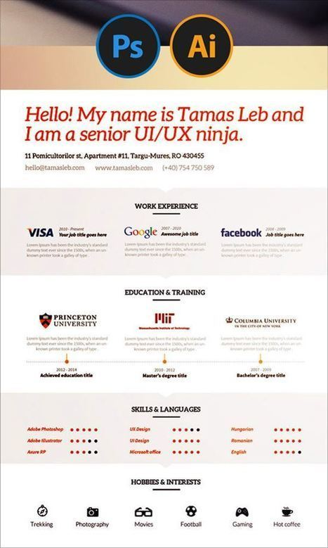 20 Creative Free Resume/CV Templates To Download | Public Relations & Social Media Insight | Scoop.it