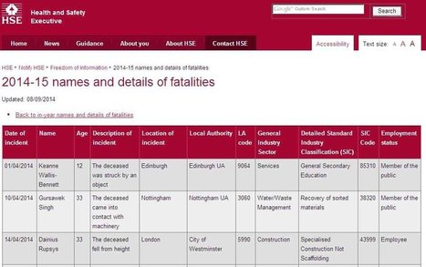 HSE CONSTRUCTION FATALITY RECORDS JULY 2014 - Construction Health and Safety News   RIDDOR   Scoop.it