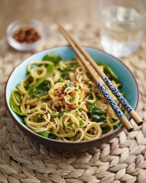 Sweet Potato Noodles with Cashew Butter and Spinach Vegetarian Recipe   Food for Foodies   Scoop.it