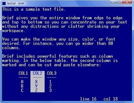 Brief text editor, al vell estil de l'edit ms-dos, però per a win7 win8... | Els nous exploradors | Scoop.it