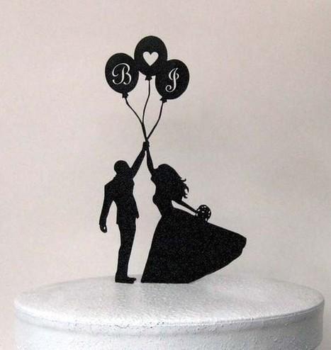 Silhouet Kagetop Brudepar med balloner og initialer - Prinsessens Bryllup | Bordpynt Til Bryllup, Invitationer Til Bryllup | Scoop.it