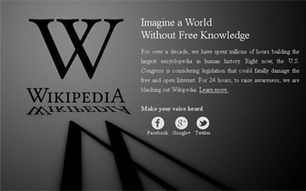 Wikipedia Traffic Increases During SOPA Protest Blackout | Social Media and its influence | Scoop.it
