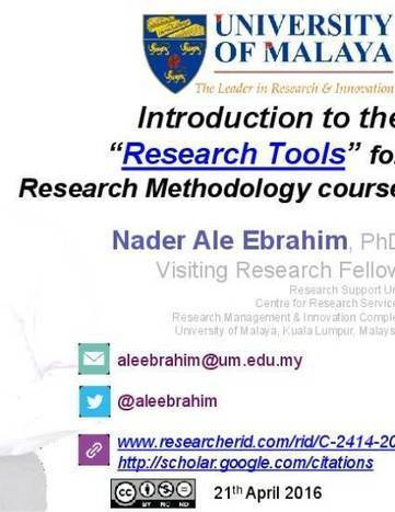 """Introduction to the ""Research Tools"" for Research Methodology course"" by Nader Ale Ebrahim 