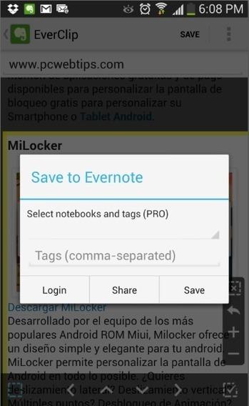 Como guardar paginas Web completas en Evernote para Android   PCWebtips.com   Android - Aplicaciones y Tips   Scoop.it