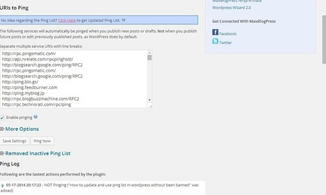 Ping list in wordpress with MaxBlog Ping Optimizer | Internet Marketing | Scoop.it