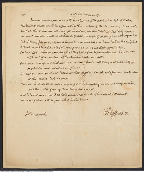 Thomas Jefferson lays out guidelines for student meals... — Houghton Library | Chalkface Rhetorics @JFK-I, FU Berlin | Scoop.it