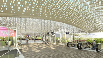 "Marc Mimram designs ""pleated roof"" for Montpellier's new TGV station 