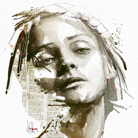 Mixed Media Portraits by Florian Nicolle | [Art] - artist's point of view, creative process &  interesting pieces | Scoop.it