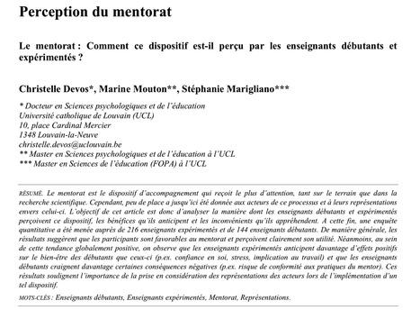 e-299 : Insertion des enseignants débutants. Le mentorat ? Comment cette modalité d'accompagnement est-elle perçue ? Une étude de Ch. Devos et ses collègues de Louvain la Neuve. | Revue Education & Formation | Scoop.it