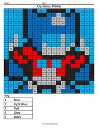 Optimus Prime- Practice Subtraction | Coloring Squared | Scoop.it