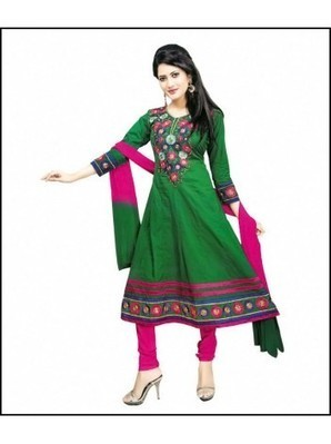Green & Pink color semi stitched Anarkali suit | stylo8.com | Scoop.it