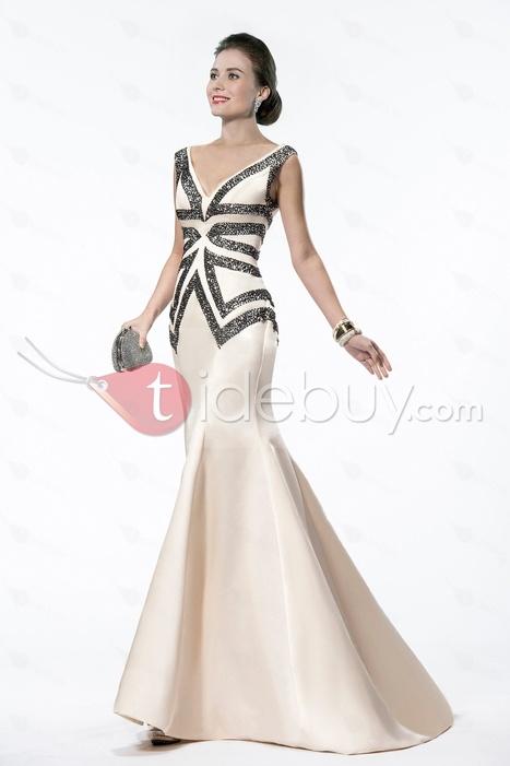 Elegant Mermaid/Trumpet V-Neck Sequins&Beading Sweep Train Evening Dress   wedding time   Scoop.it