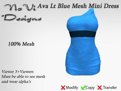 Ava Light Blue Mini Dress by NoVi Designs (1L Promo) | Teleport Hub - Second Life Freebies | Second Life Freebies | Scoop.it