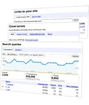 "Google Webmaster Central. Get data about crawling, indexing and search traffic. Increase traffic to your site. | ""#Google+, +1, Facebook, Twitter, Scoop, Foursquare, Empire Avenue, Klout and more"" 
