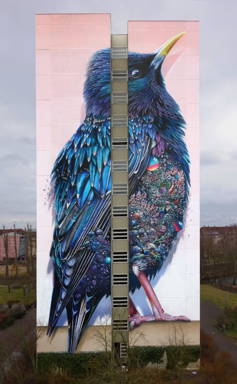 137-Foot Dazzling Bird Mural in Berlin Symbolizes Energetic City Culture | Le It e Amo ✪ | Scoop.it