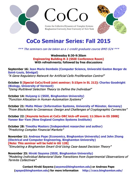Updated Fall 2015 CoCo Seminar Schedule | Center for Collective Dynamics of Complex Systems (CoCo) | Scoop.it