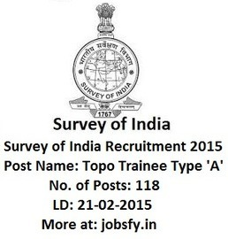 Survey of India Recruitment 2014-15 Apply Online for 118 Topo Trainee Type 'A' Vacancies « jobsfy | Latest Job Alerts | Scoop.it