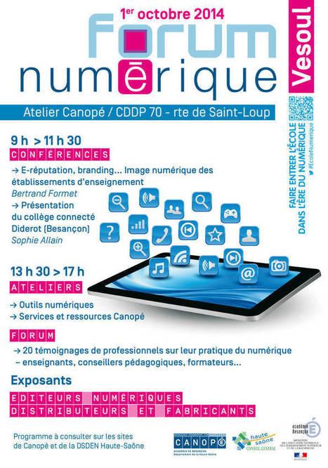 Canopé département de la Haute-Saône : Forum numérique 1er oct à l'atelier Canopé Haute-Saône | Le mot du libraire Canopé Haute-Saône | Scoop.it