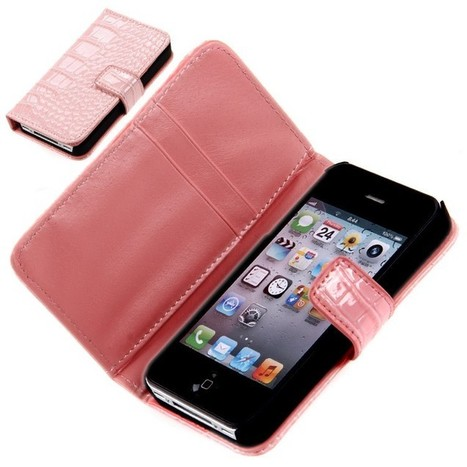Wallet PU Leather Case Cover with Card Slots for iPhone 4 / 4S Pink - Free Shipping | Apple iPhone Accessories, iPad Accessories For Sale at Aurabuy -   Free Shipping | Scoop.it