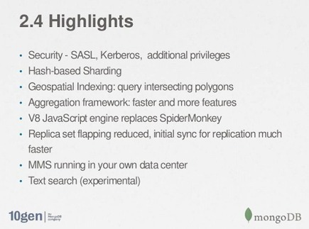 MongoDB 2.4 Highlights | EEDSP | Scoop.it