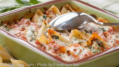 Baked Pasta Shells with Ricotta, Spinach and Tomato Sauce | French Cuisine | Scoop.it