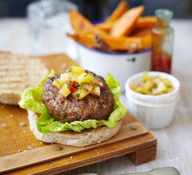 Thai burgers with salsa & sweet potato wedges - BBC Good Food | Foodie News, Recipes, & Videos | Scoop.it