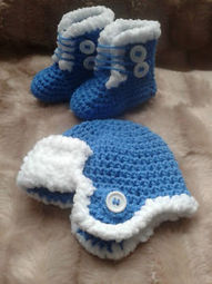 Crochet Baby Hat and Boot Set Blue Gift/Baby Clothes | crochet for babies | Scoop.it