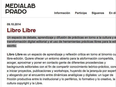 Libro Libre, proyecto de investigación de Medialab-Prado Madrid | Livro livre | Scoop.it