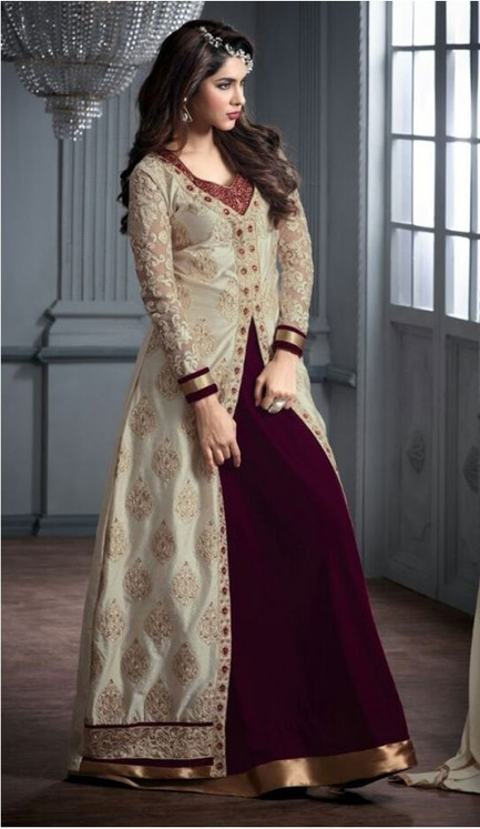 New Designer Gown Banarasi SilK, Velvet with Party Wear Style | FH375562064 | fashionheena.com | Scoop.it