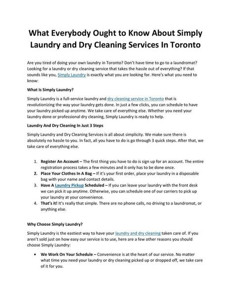 What Everybody Ought to Know About Simply Laundry and Dry Cleaning Services In Toronto | ferelrew | Scoop.it