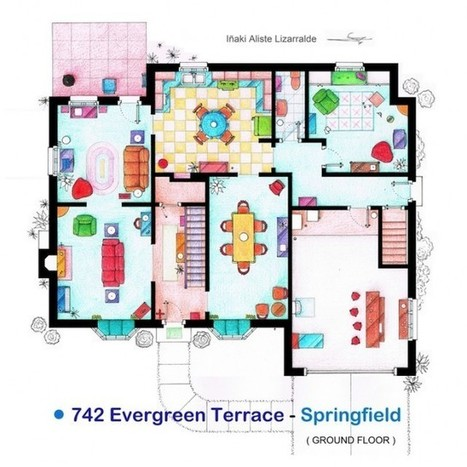 Le plans détaillé de la maison des Simpson | The simpsons | Scoop.it