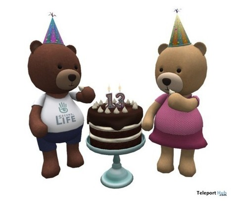 Second Life 13th Birthday Teddy Bear and Cake by Linden Lab | Teleport Hub - Second Life Freebies | Second Life Freebies | Scoop.it