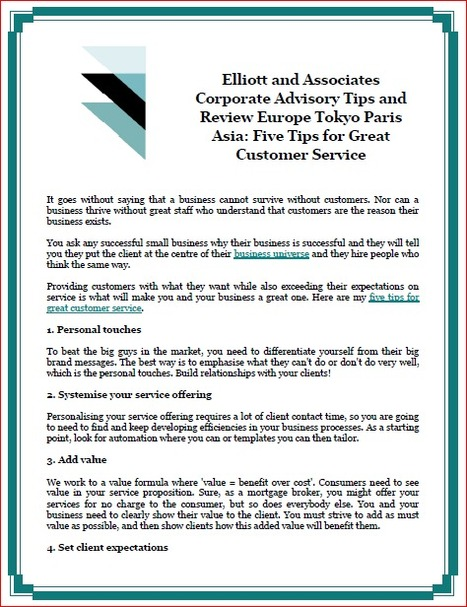 Elliott and Associates Corporate Advisory Tips and Review Europe Tokyo Paris Asia: Five Tips for Great Customer Service | Elliott & Associates Research Global Markets | Scoop.it
