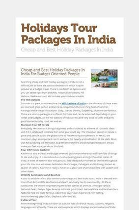 Holidays Tour Packages In India | India Tours | Scoop.it