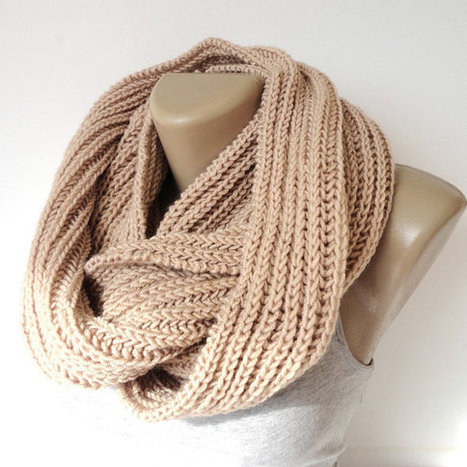 beige infinity scarf, women, men scarves, winter trends, fashion accessories, gift ideas | Winter Fashions | Scoop.it