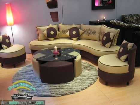 Salon Moderne Beige Marron 2014 Salon Marocain