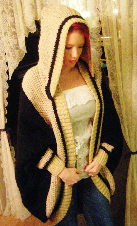 Over-sized Hooded Shrug Black and Tan, Handmade Crochet, Contemporary Style, Chic look, Day or Night, Everyday dress, Casual | All Crochet | Scoop.it