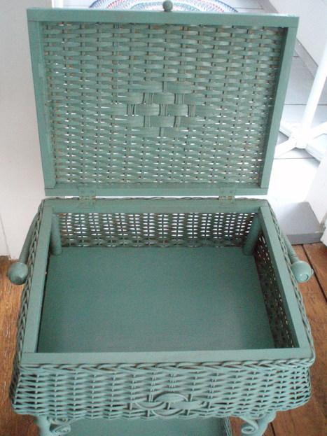 Heywood Wakefield antique sewing stand basket wicker | Fiber Arts | Scoop.it
