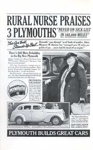 Vintage plymouth print ad that ran once. A great USP. J Stirling Getchell | A Cultural History of Advertising | Scoop.it